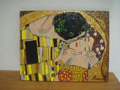 Il Bacio di Klimt dipinto su ardesia cm18x24