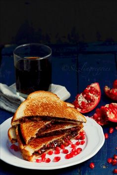 Grilled Almond Butter Pomegranate Sandwich