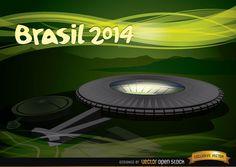 """Digital art of Maracana Stadium as promo for Brazil 2014 FIFA World Cup, it features green waves on the top with """"Brasil 2014"""" written. Under Commons 3.0. Attribution License."""