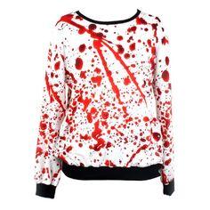 Blood Print Long-sleeved Sweatshirt ($26) ❤ liked on Polyvore featuring tops, hoodies, sweatshirts, shirts, sweaters, jackets, print top, pattern long sleeve shirt, pattern tops and patterned sweatshirts