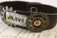 Handmade Upcycled Leather and Metal Love Hand-Stamped Bracelet Cuff by SalvagedJewelry, $28.00