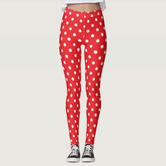 Are you into Polka Dots? Check out these leggings. Polka Dot Leggings, Red Leggings, Cute Leggings, Printed Leggings, Leggings Fashion, Tights, Blue Design, Look Cool, Casual Outfits