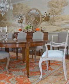 fabulous interior design by Honey Collins - great colors and a gorgeous Oushak rug and an exquisite wall mural - so pretty! Decor, Interior, Traditional Interior, Elegant Homes, Traditional Dining Room, Beautiful Dining Rooms, Dining Corner, Interior Design, Dining Room