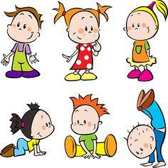 Clipart de niños y escolares tipo cartoon, imagen vectorial