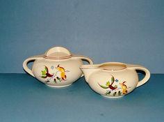 Vintage 1920s Art Deco Cream Cream and Sugar by QueensParkVintage, $55.00