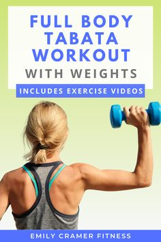 This full body Tabata workout uses just a single pair of weights and your bodyweight to get you a great calorie burn in just 35 minutes! The workout includes tutorial videos for each exercise. Are you ready to feel the burn?