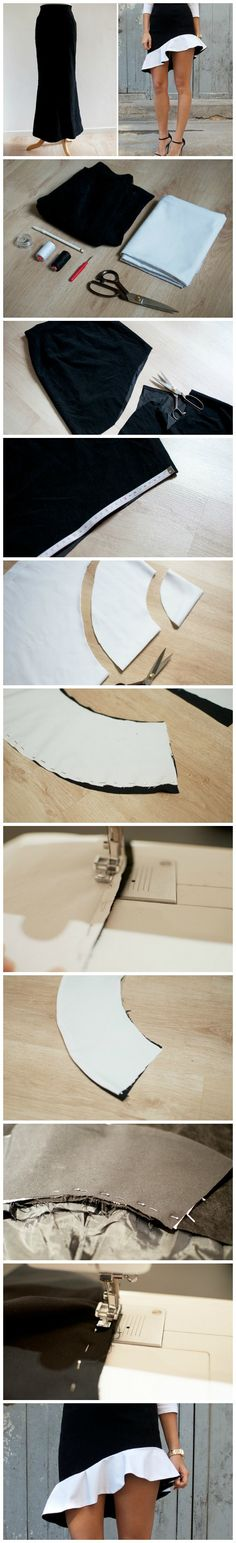You need:  A simple black skirt 1m (approx 1 yard) of white cotton fabric 1m (approx 1 yard) of black cotton fabric Dressmaker's Scissors Black and white thread A Sewing machine Measuring tape Pins More info and instructions about this great tutorial you can find in the source url - above the photo. diyfuntips.com is […]