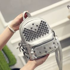 Women Mini Backpacks PU Leather Riveting Casual Bags Classical Teenagers Fashion Travel Rivet Back Pack Bag Korean Style SL0548 * Want to know more, click on the image.