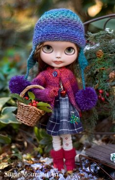 Snow Trails. Plaid Christmas Dress Knitted by SugarMountainArt