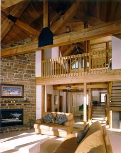 Wooden Truss - Arched Ceiling & Stone Fireplace