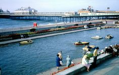 Brighton Boating Lake 1963 With the West Pier in the background. Fishing Pontoon Boats, Kayak Fishing, Saltwater Fishing, Boating Holidays, Seaside Holidays, Brighton Rock, Brighton And Hove, British Seaside, Bowfishing