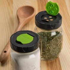 So neat and handy, you'll want more than one pack!   Thrifty folks will love these caps. Versatile lids fit onto any regular mouth canning jar and have a flip top to dispense herbs, spices, sprinkles, sugar and more. It's an easy and convenient way for storing and dispensing your dry foods.         Pack of 2 lids       Fits regular mouth canning jars      Made of BPA-free plastic      Food safe      Dishwasher safe      China