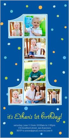 4x8 Photo Card by Shutterfly. Another year older. Another year of fun. Invite all the guests with this stylish first birthday invitation. Just add your favorite photos and all the event details.
