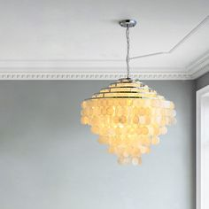 This unique chandelier is made of many shells, it's light and full of decoration, purchase it from Homelava.com and start your decoration. Unique Chandelier, Pendant Lighting Bedroom, Contemporary Pendant Lights, Modern Pendant Light, Shell Pendant, Pendant Lamp, Fitted Bedrooms, Made To Measure Curtains, Lampshades