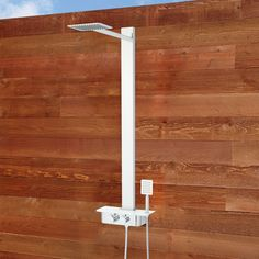 Broadus Thermostatic Stainless Steel Outdoor Shower Panel with Hand Shower and Shelf