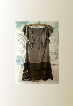 Women's sleeveless dress silk brown dress boho gypsy by smArtville
