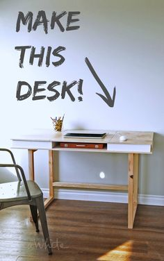 Build your own simple, yet modern study desk for your den or office. Full tutorial available from Ana White. #DIY
