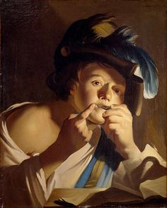 Dirck van Baburen -The Young Man Playing a Jew's Harp, 1621. Centraal Museum, Utrect. Oil on canvas, 65 x 52cm, Part of the Paris Tableau 2014 loan exhibition: Three Collections, A Single Passion.