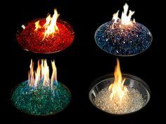 Verre concassé de différentes couleurs pour un foyer à gaz