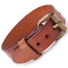 R&B Bijoux - Bracelet Homme - Manchette Fine & Boucle Style Bracelet de Montre - Cuir & Métal (Marron Camel, Or): Amazon.fr: Bijoux
