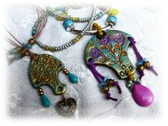 Bhollywood collection - two polymer clay necklace - gold, turquoise, lilac, orange, silver - OOAK. $39.00, via Etsy.