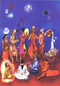 Dhanishtha Nakshatra illustration by Veno Capricorn Man, Spirit World, Vedic Astrology, Sanskrit, Temple, Universe, Moon, Celestial, Mansions