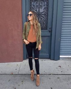 camel and olive Green Suede Jacket, Olive Clothing, Denim Jacket With Dress, Booties Outfit, Olive Jacket, Striped Turtleneck, Instagram Outfits, Jeans And Sneakers, Leather Dresses