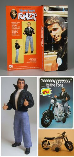 Happy Days / Fonzie - Mego Corporation - you push a button on his back and his arms move up for the thumbs up.