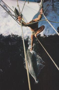 dolphins and sailing Sailboat Living, Sailing Holidays, Its A Mans World, Sail Away, Set Sail, Surfs, Tall Ships, Belle Photo, Sailing Ships