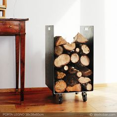 Porta legna ferro 38x38x60cm