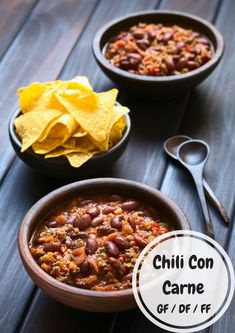 Chili Con Carne - DF/GF/FF: Adjust the spice to your liking, easy weekday meal to have handy to pull out of the freezer and reheat. Healthy Slow Cooker, Slow Cooker Recipes, Crockpot Recipes, Soup Recipes, Fall Recipes, Holiday Recipes, Easy Snacks, Easy Healthy Recipes, Healthy Food