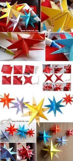 Gezellige sterren van papier. Met deze beschrijving kun je sterren maken van papier. Versier ze met stift of verf. Gebruik glitters, kraaltjes of wat je maar in huis hebt voor een leuk effect.