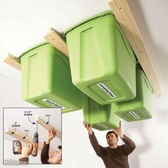 Get those big plastic storage bins up off the garage floor and onto the ceiling! Screw 2x2s to the ceiling framing with 3-1/2-in. screws spaced every 2 ft. Use the bins as a guide for spacing the 2x2s. The lips on the bins should just brush against the 2x2s when you're sliding the bins into place. Then center and screw 1x4s to the 2x2s with 2-in. screws. The garage ceiling is a perfect place to store light and medium weight seasonal items like holiday decorations and camping gear. For more…