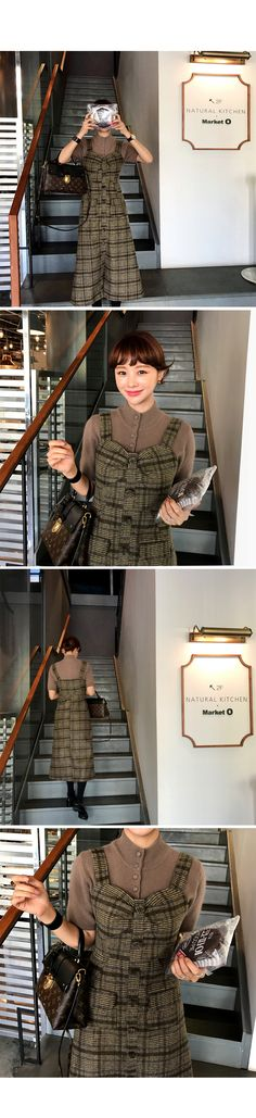 Sleeveless Check Pattern Dress | IMVELY: Shop Korean clothing, bags, shoes for women
