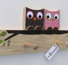 Owl Friends Peg Rack Your Çolor Choice van MapleShadeKids op Etsy