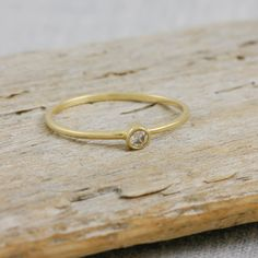 Diamond gold ring 14K solid gold ring white by KyklosJewelryLab