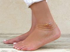 Double Layered Gold Anklet Gold Chain Anklet by annikabella