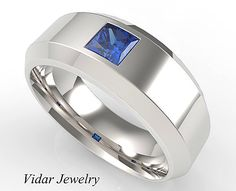 Unique Mens Wedding Band 14k Gold Princess Cut Blue Shire Ring For