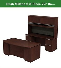 "Bush Milano 2 3-Piece 72"" Bow Front Desk Set in Harvest Cherry. Contemporary style. Includes bow front double pad desk with credenza and hutch. Two box drawer for supplies, seven file drawers hold letter - legal or A4-size files. Full extension ball-bearing drawer slides offer easy access to all files. Durable PVC edge banding on work surfaces resist collisions and dents. Features full length modesty panels, extruded aluminum drawer pulls and a beaded edge detail on work surface...."