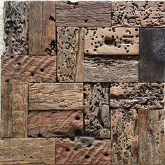 Wood Wall Tiles, Wood Mosaic, Mosaic Wall Tiles, Backsplash Tile, Rustic Wood Walls, B 13, Ceramic Houses, Into The Woods, Wooden Clock
