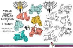 Check out Vintage Scooter Clip Art Bundle by Blixa 6 Studios on Creative Market Vespa Wedding, Clip Art, Creative Sketches, Paint Markers, Pencil Illustration, Business Card Logo, Watercolor And Ink, Painting & Drawing, Art For Kids