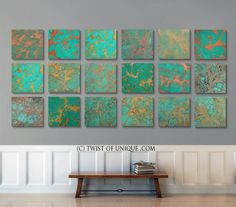 ORIGINAL Oxidized Metal Abstract painting, 8 panels ( 15 x 15 Inch) Abstract Wall Art - Copper, Green, red rust, Bronze, Gold