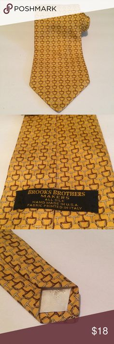 "BROOKS BROTHERS 59""x3.75"" Gold Horse Bit Tie EUC Excellent Used Condition Brooks Brothers Makers 100% Silk Neck Tie  Color: Gold/ Brown Theme/Pattern: Horse Bit Gold/Silver Size: 59""X3.75"" 100% Guaranteed No rips, Stains, Issues at all! Please feel free to contact me with any questions or concerns. Thanks Brooks Brothers Accessories Ties"