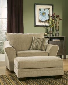 Oversize Chair for my living room. I'd love to cuddle up with a good book here!or my Macbook ; New Living Room, Living Room Chairs, Living Room Furniture, Home Furniture, Living Room Decor, Furniture Design, Nursery Furniture, Sunroom Furniture, Dining Chairs