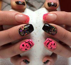 Black confetti nails