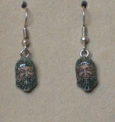 Hand Painted Greenman Earrings by tribeofthefaefolk on Etsy