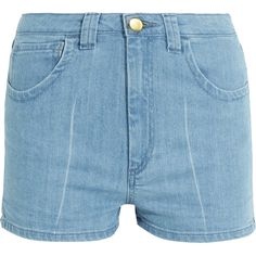 Topshop Unique - Holyport Denim Shorts (€52) ❤ liked on Polyvore featuring shorts, light denim, party shorts, topshop unique, pocket shorts, short jean shorts and jean shorts