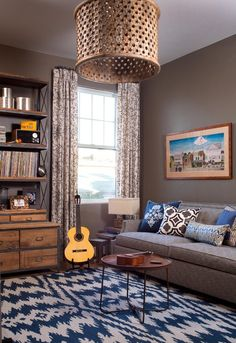 Playroom redo colors - brown couches, dark blue, pale blue