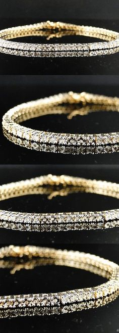 Diamond 10976: New Mens Ladies 1 Row Diamond Yellow Gold Finish Tennis Bracelet 7 Inch BUY IT NOW ONLY: $149.99