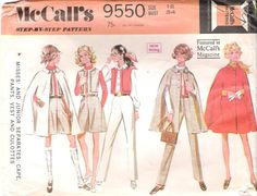 Vintage 1960s Mod Cape Culottes Vest and Pants, McCall's 9550, Offered on Etsy by GrandmaMadeWithLove, $8.00